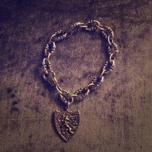 White bronze antique style chain bracelet